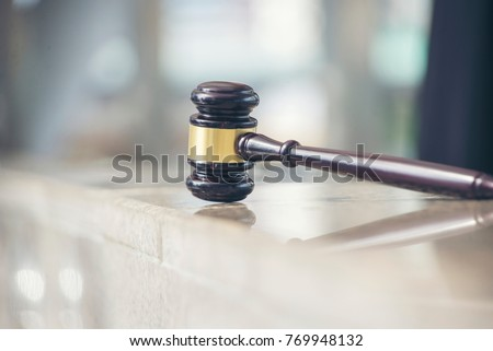 Auction wooden hammer on stand isolated on white. Element for auctions that helps to sell things by hitting the stand. Gavel decision-making symbol in flat style
