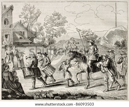 Auctioneers coming before shooting competitions winners (Jeu du Papeguay, antique French tradition). After old print by Mariette, published on Magasin Pittoresque, Paris, 1842