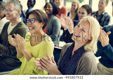 Audience Applaud Clapping Happiness Appreciation Training Concept #495807922