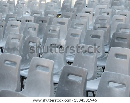 Audience perspective with empty plastic seats in St. Peter's Square, Rome, Vatican Imagine de stoc ©