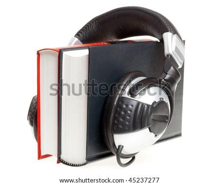 audio book concept (headphones and books)