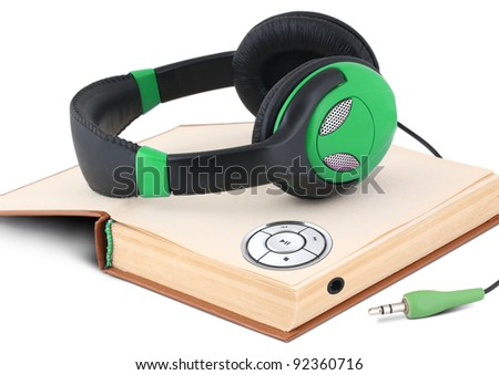 Audio book concept on white background