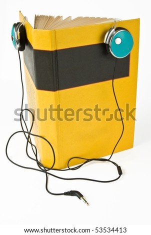 Audio book concept with headphones over white