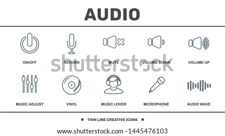 Audio Buttons icons set collection. Includes creative elements such as Record, Mute, Volume Down, Volume Up, Vinyl and Music Lover premium icons.
