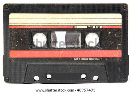 Audio cassette isolated on a white background - stock photo