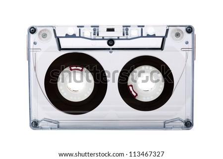 Audio cassette isolated on white - stock photo