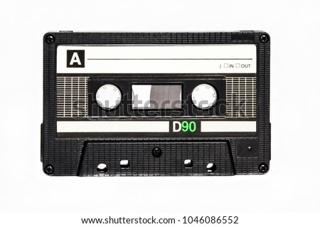 Audio cassette, on isolated white background.