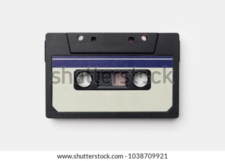Audio Cassette over white background, top view