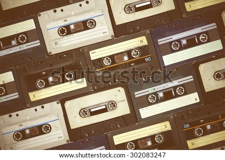 Audio cassette. Retro background