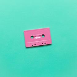 Audio cassette. Retro vibes Minimal art