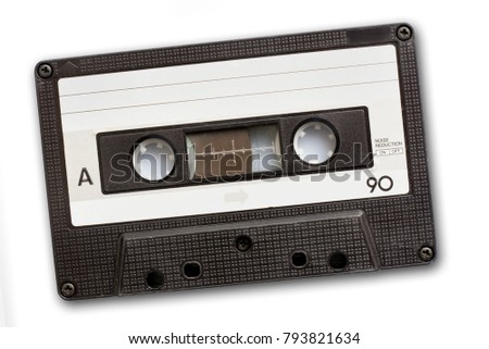 Audio cassette tape isolated on white background, vintage 80's music concept