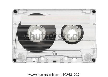 Audio cassette with label isolated on white background