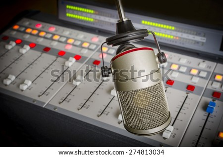 audio console and microphone in the radio studio