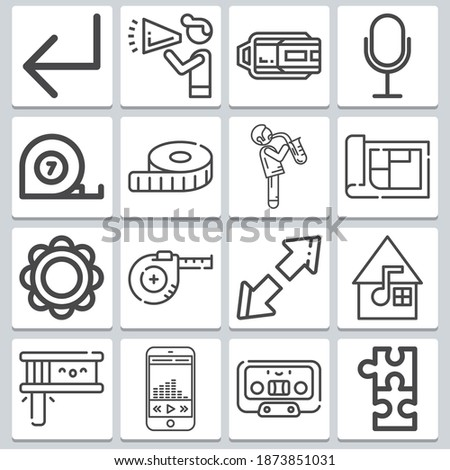 Audio icons set ? simple set of 16  includes musician with saxophone, announcement, back, measuring tape, vintage microphone, arrows, cassette, tape measure symbols Stock fotó ©