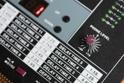 Audio mixer, music equipment in selective focus.