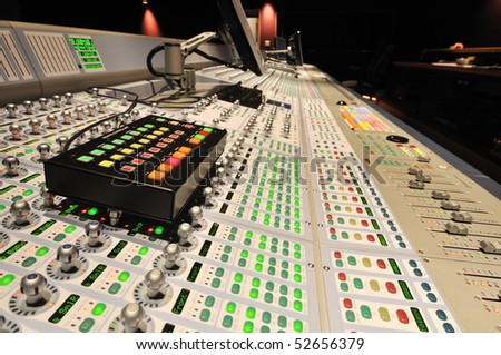 audio post production mixing console with control box