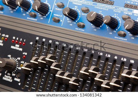 Audio rack, audio equipment control panel