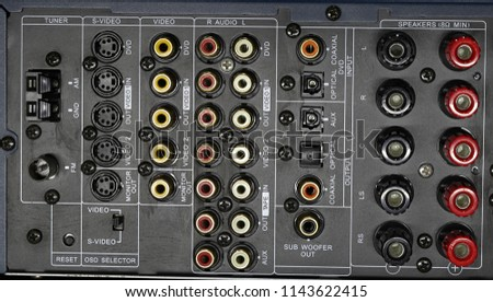 audio receiver back panel with inputs output for connecting equipment and output to speakers with terminals and wires #1143622415
