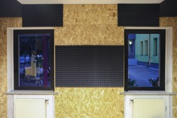 Audio recording and reharsal room with sound proofing panels