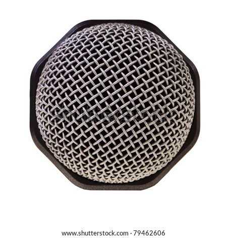 Audio recording microphone closeup isolated over white background.