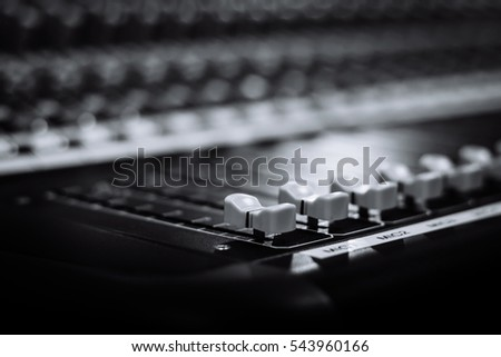 Audio sound mixer&amplifier equipment, sound acoustic musical mixing&engineering concept background, selective focus, black&white