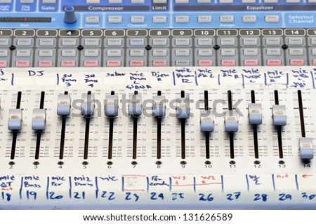 Audio sound mixer panel in concert