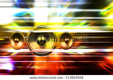 Audio speakers and party lights background