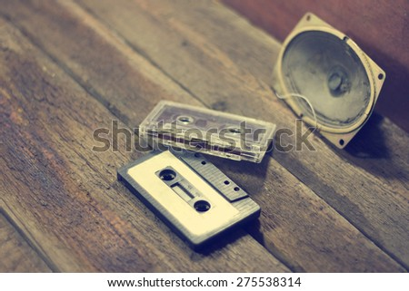 audio tape on a wooden floor