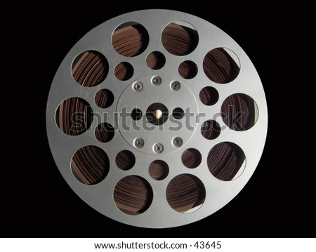 Audio Tape Recorder Reel, isolated on black