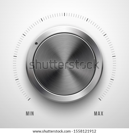 Audio volume knob, technology music button template, with metal circular brushed texture, chrome, silver, steel, range scale and realistic shadow for design concepts, web, interfaces, UI, apps