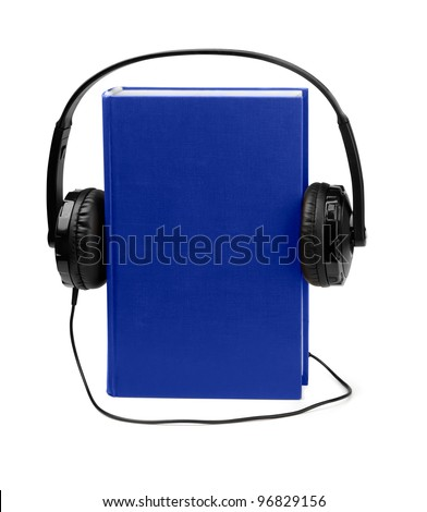 Audiobooks concept - blue book and headphones isolated on white