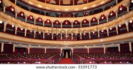 Auditorium. An interior of opera theatre. Odessa, Ukraine
