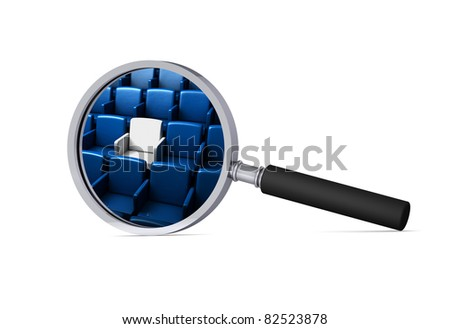 auditorium with one reserved seat in the magnifier/ 3d icon