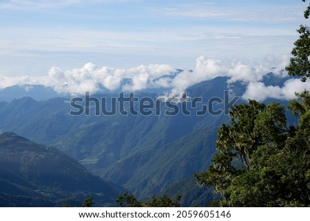 Aug 2021- Seas of Clouds and Captured Village in Vantage Point in Highway 20 ストックフォト ©