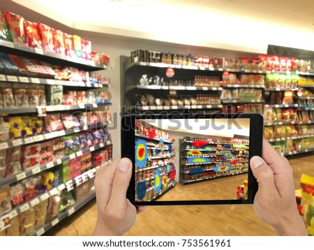Augmented and virtual reality technology futuristic concept, Retailer use augmented combine virtual reality technology to find the data of eye tracking heat map to management, analysis, to improve