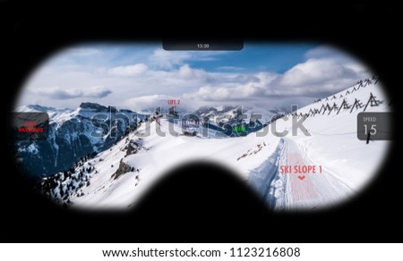 Augmented reality in ski goggles. Information about speed, places and slopes is displayed inside glasses. Concept of skiing in AR. #1123216808