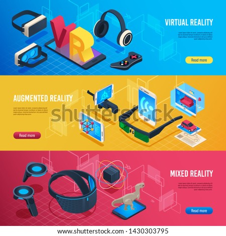 Augmented reality. Isometric virtual reality wireless headset communication banners. Vr entertainment future technology, game goggles gadgets software device. Futuristic cyberspace  illustration