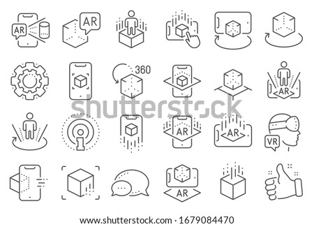 Augmented reality line icons. VR simulation, Panorama view, 360 degree. Virtual reality gaming, augmented, full rotation arrows icons. 360 vr tour, virtual simulation device. Line signs set.
