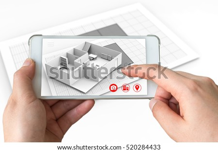 Augmented reality marketing concept for architecture. Hand holding smart phone using AR application to simulate 3d popup interactive room maps to life. 3d rendering