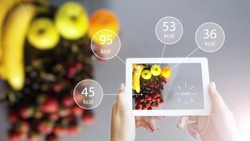 Augmented Reality or AR App Showing Nutrition Information of Food, Fruit, on Smart Device Tablet Screen
