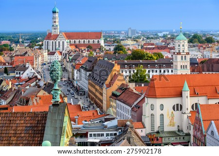 Augsburg, Germany old town skyline.
