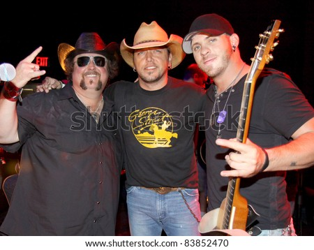 "August 16, 2011 - Athens, GA - (l-r) Colt Ford, Jason Aldean and Brantley Gilbert. Country artist Colt Ford rounded up his friends to hold a benefit for the family of Elmer ""Buddy"" Christian."
