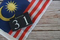 August 31 cube date on malaysia flag., Independence day of Malaysia concept.