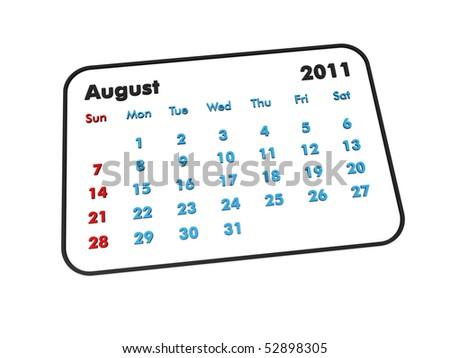August 2011 3d calendar on white background