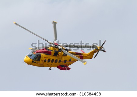 August 8, 2015: Demonstration of a Search and Rescue Helicopter in action near Vancouver BC, Canada