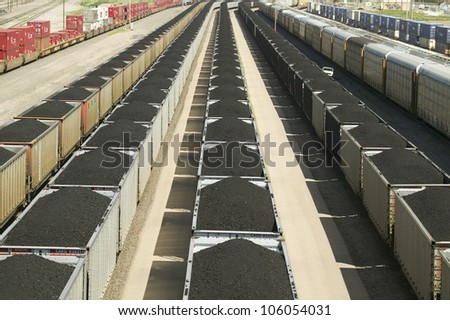AUGUST 2007 - Elevated view of freight cars with coal at Union Pacific's Bailey Railroad Yards, North Platte, Nebraska, the worlds largest classification railroad yard