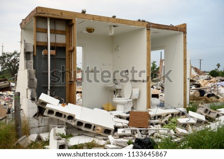 August 2017 Gulf of Mexico Hurricane Harvey major wind damage and building destruction in Rockport, Texas / USA.