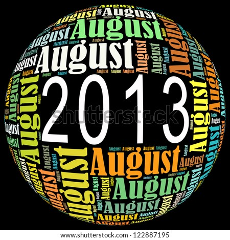 August 2013 info-text graphics arrangement on black background