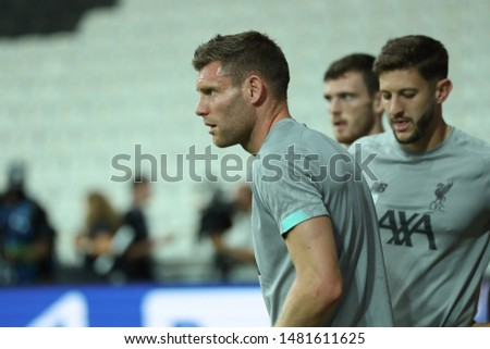 AUGUST 13, 2019 - ISTANBUL, TURKEY: James Milner beautiful portrait. Liverpool FC players warming up on the field. 2019 UEFA Super Cup. Liverpool FC pre-match training #1481611625