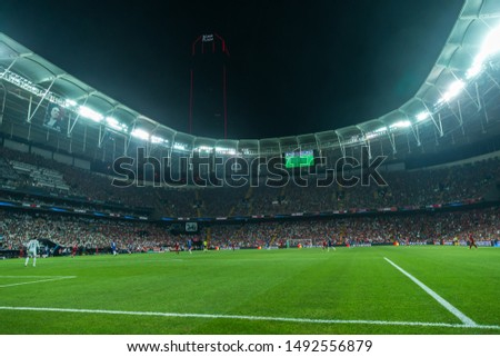 AUGUST 14, 2019 - ISTANBUL, TURKEY: Vodafone Park full crowded stadium beautiful amazing picturesque panoramic wide angle interior view during the 2019 UEFA Super Cup Liverpool - Chelsea match #1492556879